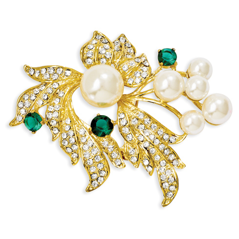 Jacqueline Kennedy Simulated Pearl and Crystal Floral Brooch