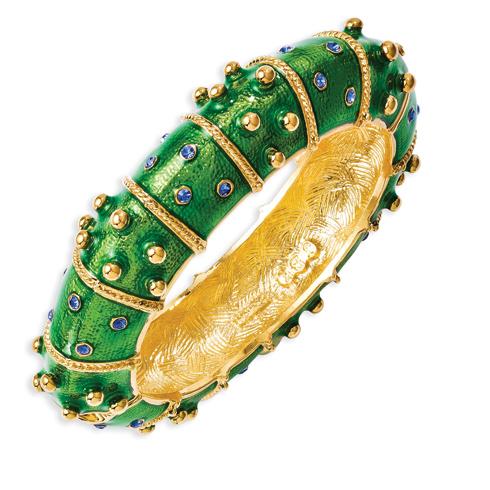 Jacqueline Kennedy Swarovski Crystal Green Enamel 8in Bangle