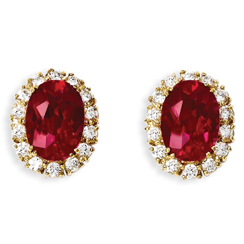 Jacqueline Kennedy Gold-plated Red CZ Earrings
