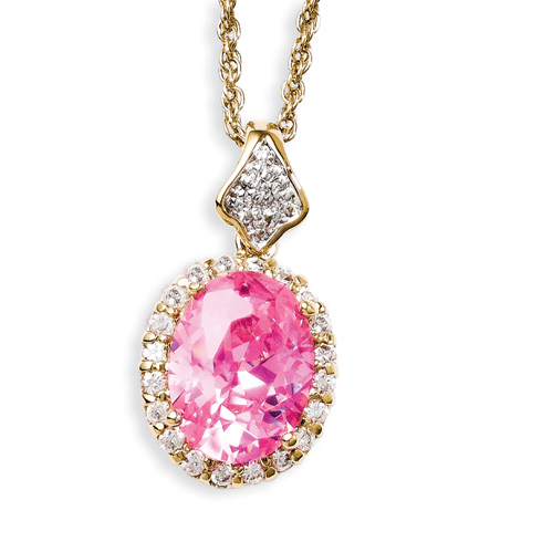 Jacqueline Kennedy Simulated Kunzite and CZ 18in Necklace