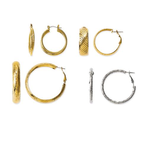 Jacqueline Kennedy 4 Pair Hoop Earrings Set