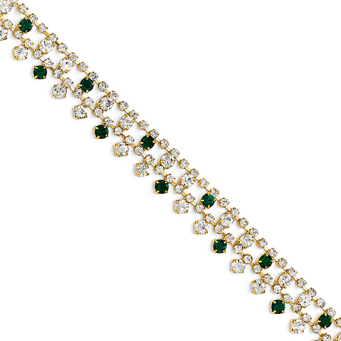 Jacqueline Kennedy White Green Swarovski Crystal 7.5in Bib Bracelet
