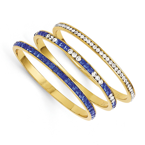 Jacqueline Kennedy Set Of Three Blue White Swarovski Crystal 8in Bangles