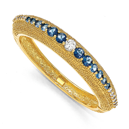Jacqueline Kennedy White and Blue Swarovski Crystal 8in Bold Bangle