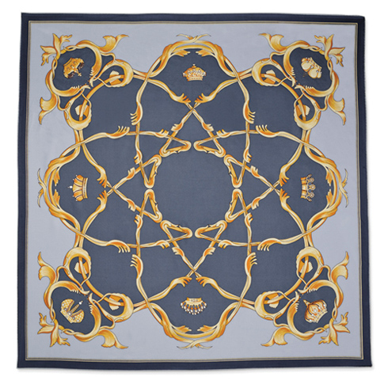 Jacqueline Kennedy Blue Crown Handmade Silk 35in Fashion Scarf