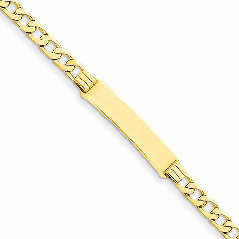 14kt Yellow Gold 8in ID Bracelet with 4mm Curb Links