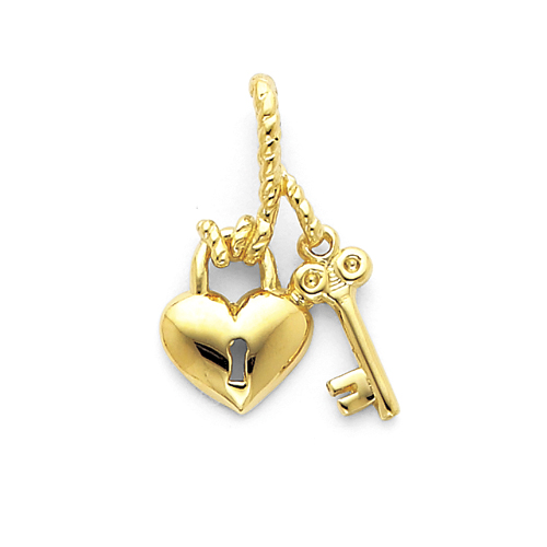 1/2in 14k Polished Heart & Key Slide