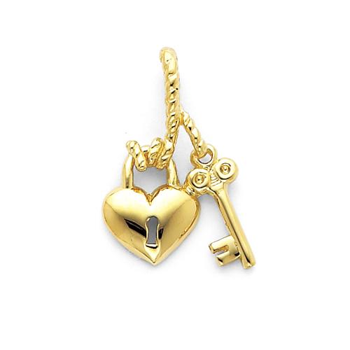 1/2in 14k Polished Heart & Key Slide