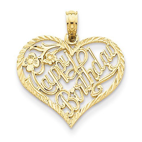 14kt Yellow Gold 3/4in Heart Happy Birthday Pendant