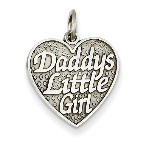 14kt White Gold Daddys Little Girl In Heart Charm D1087