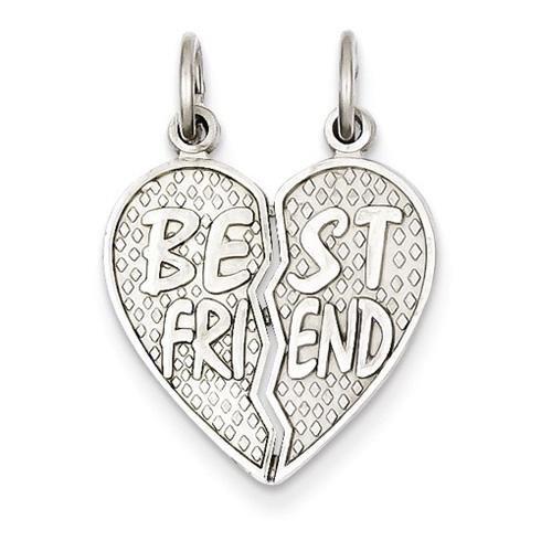 14kt White Gold 7/8in Best Friend Heart Break Apart Pendant