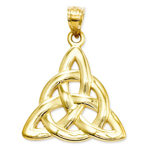 14kt Yellow Gold 7/8in Celtic Trinity Knot Pendant