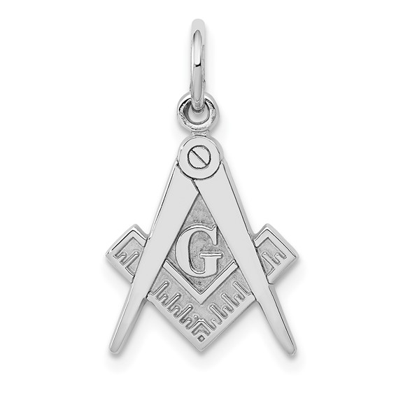 14kt White Gold 5/8in Masonic G Compass and Square Charm