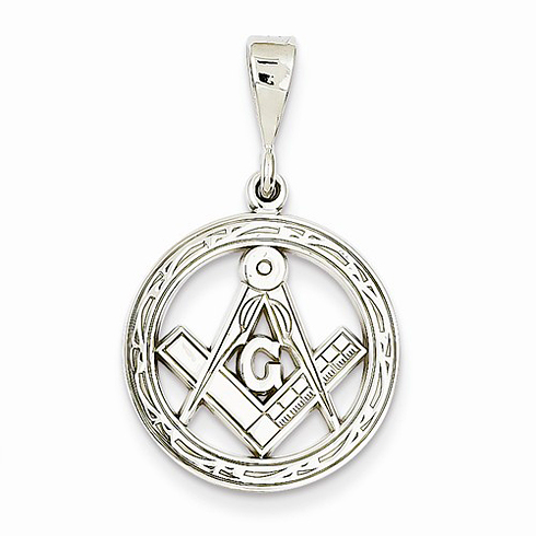 14kt White Gold 3/4in Round Masonic G Compass and Square Charm