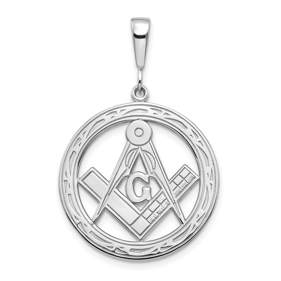 14kt White Gold 1in Round Masonic G Compass and Square Charm