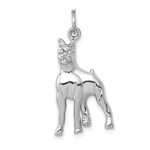 14kt White Gold 3/4in Polished Boxer Charm