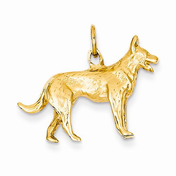 14kt Yellow Gold 3-D German Shepherd Charm