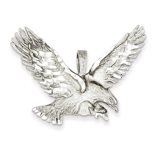 14kt White Gold 1 1/8in Diamond-cut Eagle Pendant