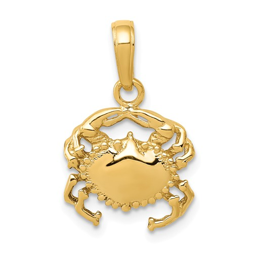 14k Yellow Gold Crab Pendant with Polished Finish 1/2in