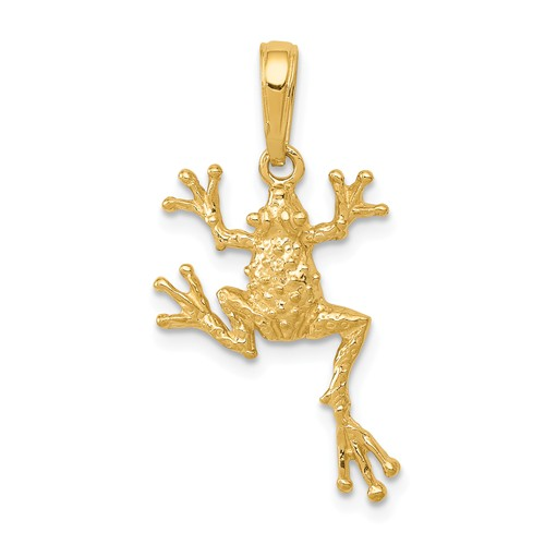 14k Yellow Gold Tree Frog Pendant 3/4in