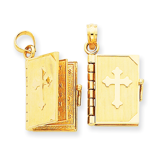 14kt Yellow Gold 1/2in Lord's Prayer Bible Pendant