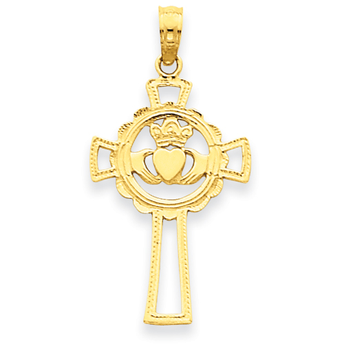 14kt Yellow Gold 7/8in Claddagh Cross