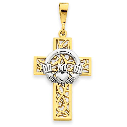 14kt Two-tone Gold 1 1/8in Claddagh Cross
