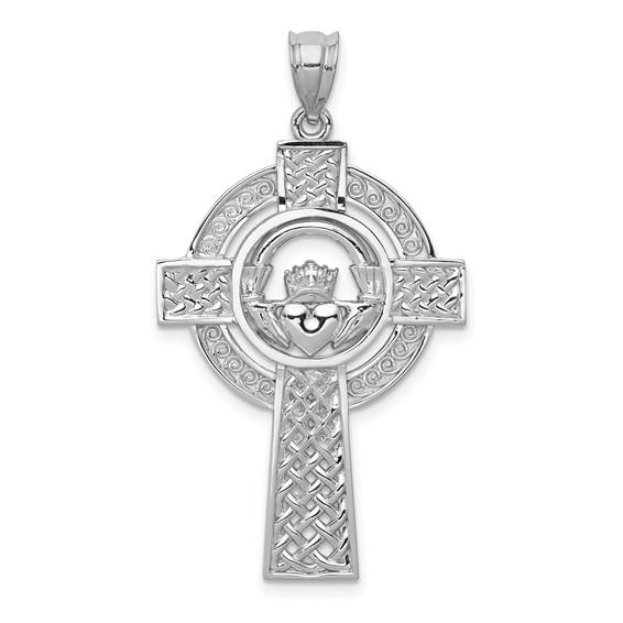14kt White Gold 1 1/4in Celtic Claddagh Cross