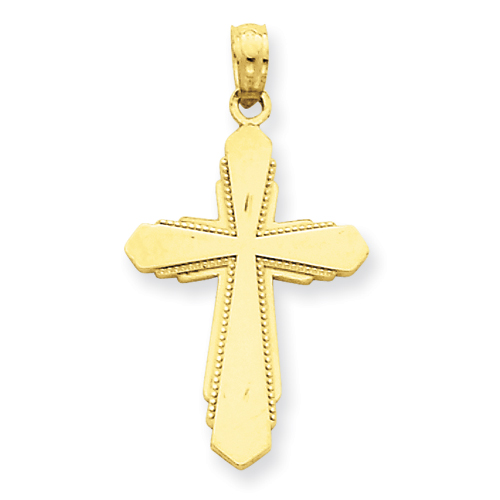 14k Yellow Gold 7/8in Passion Cross Pendant