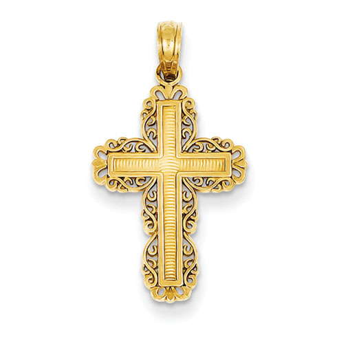 14kt Yellow Gold 3/4in Filigree Cross