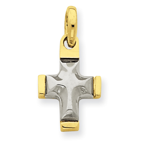 14k Two-tone Gold 1/2in Fancy Cross Charm