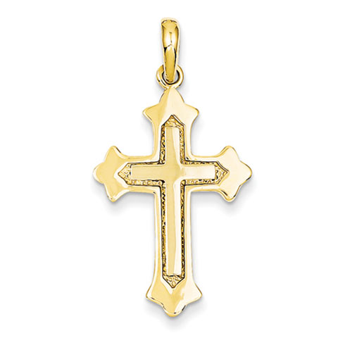 14kt Two-tone 1 1/8in Fleur de lis Cross Pendant