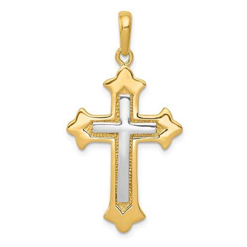 14kt Two-tone Gold 1 1/8in Fleur de lis Cross Pendant