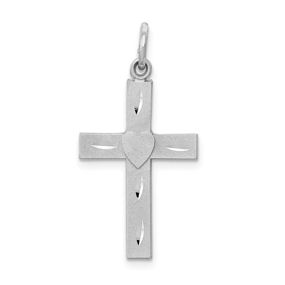14kt White Gold 13/16in Diamond-cut Latin Cross Charm