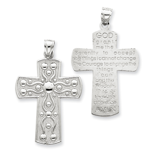 14kt White Gold 1 3/16in Cross with Serenity Prayer Pendant