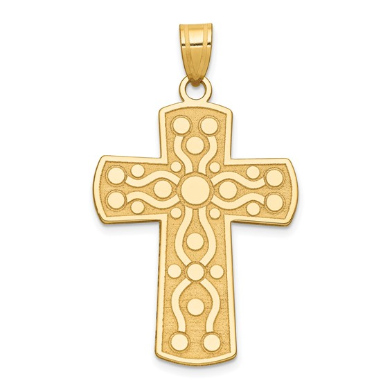 Cross with Serenity Prayer Pendant 1 1/4in 14k Yellow Gold