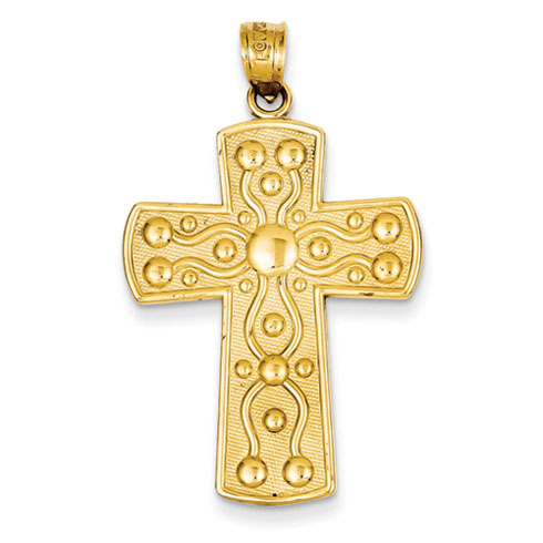 14kt 1 3/16in Cross with Serenity Prayer Pendant