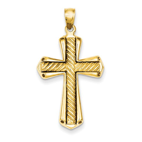 14kt Yellow Gold 1 1/8in Twisted Cross Pendant