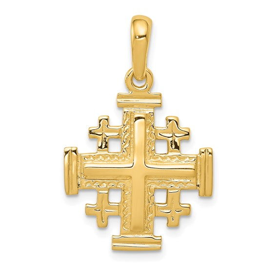 14kt yellow gold 3 4in jerusalem cross pendant d1656