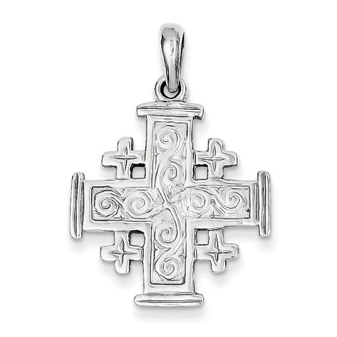 14kt White Gold 15/16in Jerusalem Cross Pendant