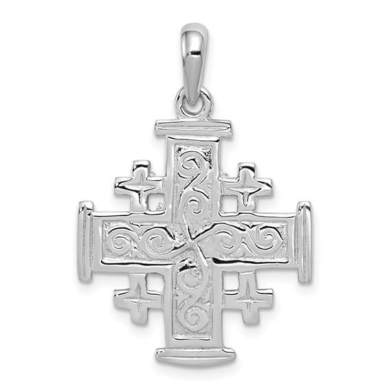 14kt White Gold 15/16in Jerusalem Cross Pendant