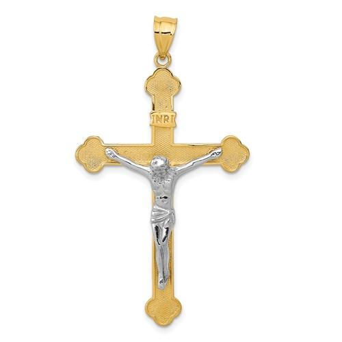 14kt Two-tone 1 5/8in INRI Crucifix Pendant