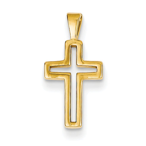 14k Yellow Gold 1/2in Outline Cross Charm