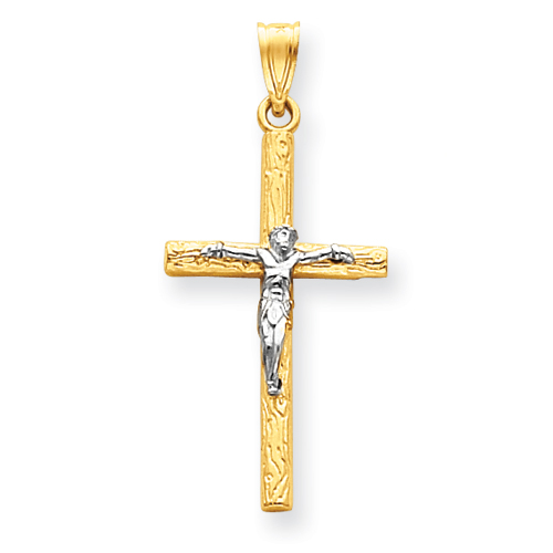 14k Two-tone Gold 1 1/4in Crucifix Pendant with Wood Texture