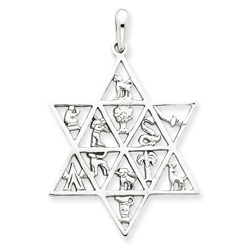 14k White Gold 12 Tribes Star of David Pendant 1 3/8in