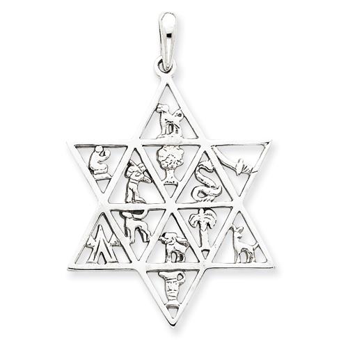 14k White Gold 1 3/8in 12 Tribes Star of David Pendant