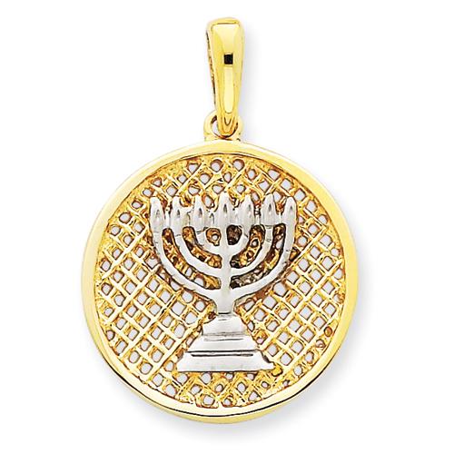 14k & Rhodium 3/4in Mesh Menorah Round Pendant