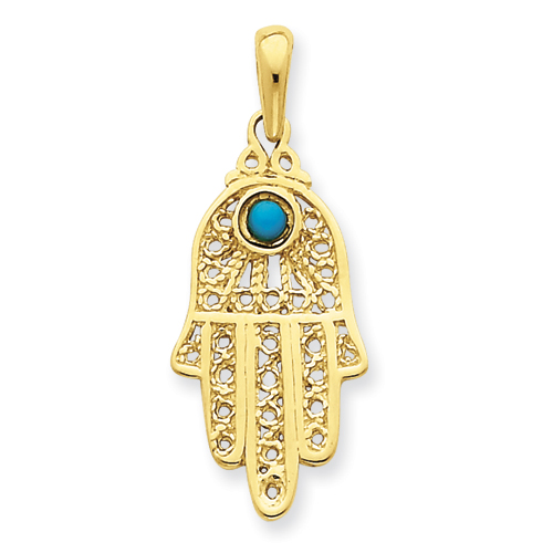 14kt Yellow Gold 1in Turquoise Filigree Chamseh Pendant