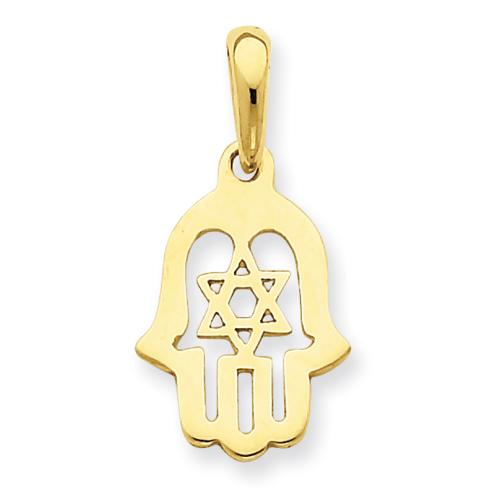 14k Yellow Gold 5/8in Star of David Chamseh Pendant