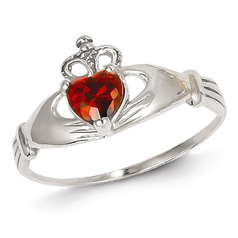 14kt White Gold Claddagh Ring with Red CZ